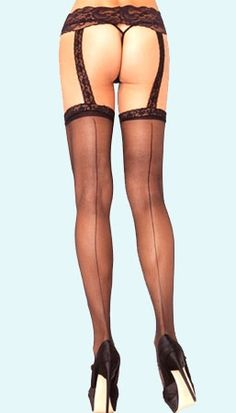 All in One Garter Belted Seamed Stockings