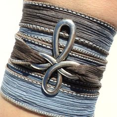 Bohemian Cross Silk Wrap Bracelet Yoga Blue Jewelry Necklace Spiritual Unique Gift For Her or Him Under 30 Item Y17 via Etsy