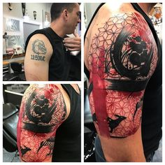 Luis Carmona Before & after trash polka cover up @orianatattoo