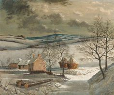 George William Bissill (British, Zell's Farm, Winter, Hampshire. Snow Scenes, Winter Scenes, Hampshire, Paint Photography, Vintage Winter, Winter Pictures, Art Uk, Winter Time, Illustration Art