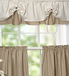 Laces and grommets or eyelets. Versa-Tie Valance And Tiers, would like this color combo but not avalible Kitchen Window Curtains, Cafe Curtains, Curtains With Blinds, Valance Curtains, Valances, Kitchen Windows, Country Curtains, Burlap Curtains, Window Coverings