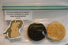 Will the groundhog see his shadow? Enjoy these 'shadow & not' cookies! Happy Groundhog Day Holmes, I think the three year olds need these!