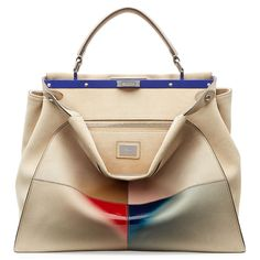 Fendi Peek-A-Boo Suede Tote (19.405 RON) ❤ liked on Polyvore featuring bags, handbags, tote bags, beige, colorful totes, fendi tote, multi colored handbags, fendi purses and suede tote