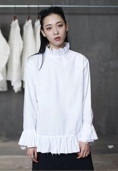 WHITE RUFFLE LONG SHIRT- SIMPLE BLACK