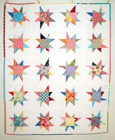 Wonky Star Scrap Quilt - I don't sew but I love this quilt.  I would do each star one fabric / one color each.