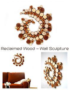 Made to Order Reclaimed Wood Slice Wall Sculpture Unique wall art wall hanging Modern Office Art Garden art