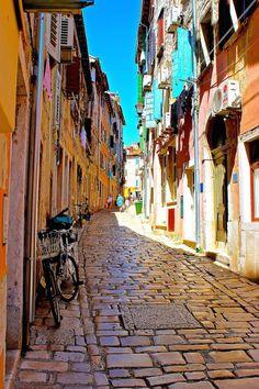 Croatia Travel Inspiration - Cobble stone streets in Rovinj, Croatia