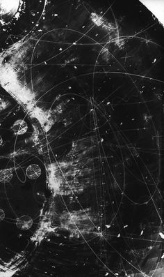 """""""In quantum mechanics there is no such concept as the path of a particle."""" Landau and Lifshitz Particle Tracks On Film from the Fermilab Bubble Chamber. Overlays Picsart, Quantum Mechanics, Screen Wallpaper, Pics Art, New Wall, Textures Patterns, Aesthetic Pictures, Astronomy, Aesthetic Wallpapers"""