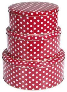 red and white polka dot cake storage tins