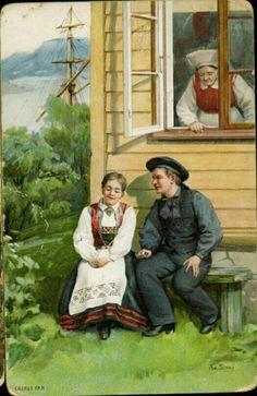 bunadskort Aa Stray brukt 1895 utg Fr N