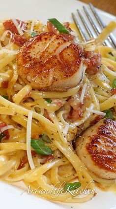 Carbonara with Pan Seared Scallops #scallops #searedscallops