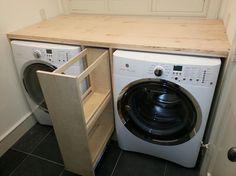 Uittrek ladekast voor wasmiddel tussen wasmachine en droger