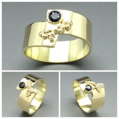 A bespoke gold ring with a black sapphire and gold granules. Ring is made by Sarah Kobak www.sarahkobak.nl
