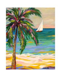 Palm Tree Sailboat Print by Karen Fields