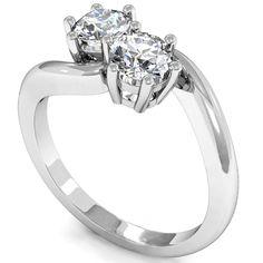2 Stone Round Diamond Engagement Ring 6 Claw Setting