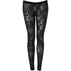 Black Flocked Leggings ($32) ❤ liked on Polyvore featuring pants, leggings, bottoms, jeans, tights, trousers &amp leggings, vintage style, women's clothing, miss selfridge and flocked leggings