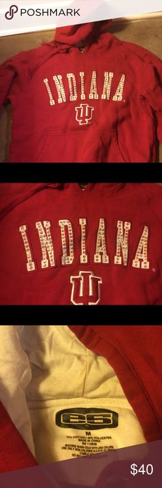 Rhinestones Indiana University Red Hoodie Rhinestoned IU hooded sweatshirt. Size Medium (unisex). Perfect for staying warm at tailgates or showing your Hoosier pride around town. Tops Sweatshirts & Hoodies