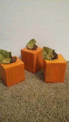 wooden block pumpkins