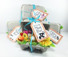Barnyard Animal Favor Tags with Red, White Gingham Check and Thank You in Cute Phrases