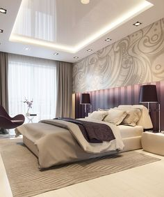 20 Master Bedrooms with Purple Accents - Hauptschlafzimmer House Ceiling Design, Ceiling Design Living Room, Bedroom False Ceiling Design, Luxury Bedroom Design, Bedroom Bed Design, Bedroom Ceiling, Living Room Designs, Bedroom Decor, Interior Design