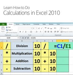 Calculations in Excel 2010