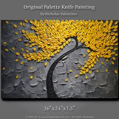 """Large 36""""x24""""x1.5"""" Original Blossom Tree Painting - Yellow & Gray  - Palette Knife - Impasto Texture - Gallery Canvas - FAST FREE SHIPPING!!"""