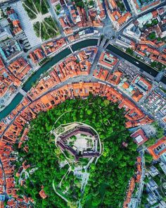 Ljubljana, guarded by the medieval castle on the hill, from the air.  Can you spot your favourite building in the city? Thanks @borisbaldinger for sharing your photo with #ifeelsLOVEnia.
