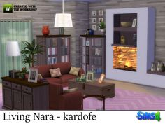 Warm room with comfortable sofas and a large fireplace, to spend pleasant winter evenings surrounded by many books and beautiful things  Found in TSR Category 'Sims 4 Living Room Sets'