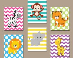 GIRL Jungle Safari Animals Wall Art, Girl Safari Jungle Animal Decor, Zoo Animal Wall Decor, Girl Playroom Decor Canvas or Prints Set of 6 Jungle Theme Nursery, Baby Nursery Themes, Nursery Prints, Baby Decor, Girl Nursery, Jungle Safari, Safari Animals, Baby Animals, Themed Nursery