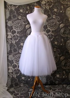 White Tulle Skirt with Stretch Waist - Tea Length Adult Tutu, Petticoat with Lycra waistband - Custom Size, Made to Order on Etsy, $89.00