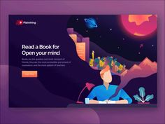 Reading Book Landing Page header mountain forest city reading book book landing page illustration ui gif animation Design Sites, Web Design Examples, Web Ui Design, Website Illustration, Flat Design Illustration, Web Layout, Layout Design, Website Design Inspiration, Graphic Design Inspiration