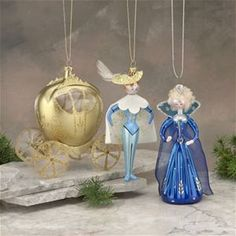 De Carlini Cinderella Set of 3 Christmas Ornaments The Cottage Shop