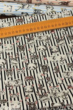 Japanese Fabric Kokka Cotton Thick  Animals  Half door cottonblue