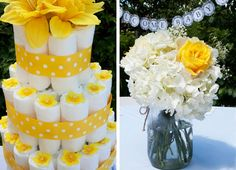 Flowers were purchased fresh from Costco and assembled by me in mason jars with some twine. My mother tried her hand at making a 'classy' diaper cake, and her yellow, floral diaper cake adorned the gift table.