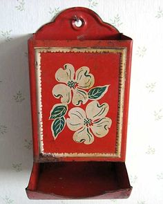 *1940's match holder, we had one of these, as we had gas stoves, and we kept our wooden matches in it.