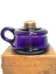 Amethyst/Purple Oil Lamp Pressed Glass by MyHeirloomEssentials
