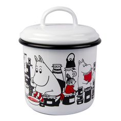 White jar perfect for hiding away cookies and other goodies, features beloved Moomin characters. Muurla combines design with durability in this retro Moomin enamel jar. Food Storage Containers, Jar Storage, Kitchen Storage, Kitchen Canisters, Kitchenware, Tableware, Buy Kitchen, Kitchen Dining, Dining Area
