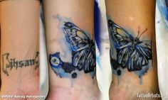 Absolutely love this butterfly water colour cover up tattoo
