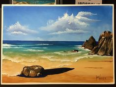 How to paint a rocky beach in acrlic - YouTube