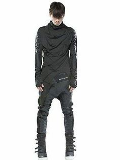 Demobaza Men's: Long sleeve, high neck wrap shirt with asymmetric hem, drop crotch pants, high top latch sneakers