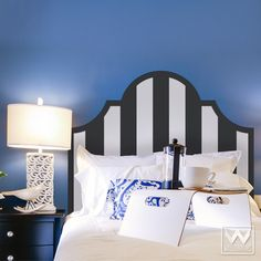 Stripes Pattern Headboard Removable Wall Decal - Modern Bed Decor | Wallternatives
