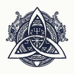 Dragons and Celtic knot, tattoo and t-shirt design. Dragons, symbol of the Viking. Helm of Awe, aegishjalmur, celtic trinity knot, northern ethnic style, tattoo