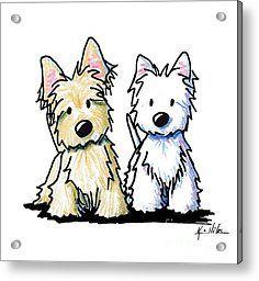Kiniart Terrier Duo Acrylic Print by Kim Niles