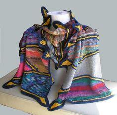 """handgestrickter Schal """"Hundertwasser"""" von Knitteltante auf DaWanda.com Plaid Scarf, Etsy, Fashion, Hundertwasser, Scarf Knit, Scarves, Handarbeit, Moda, Fashion Styles"""