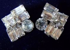 Rhinestone Art Deco Earrings - Vintage 1930s - Silver Sparkle Set
