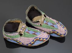 Sioux Beaded Hide Moccasins, - Cowan's Auctions