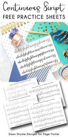 Continuous Script Penmanship Practice Worksheets. Develop your BUJO penmanship and brush calligraphy skills with these free practice worksheets! #ImproveYourHandWriting