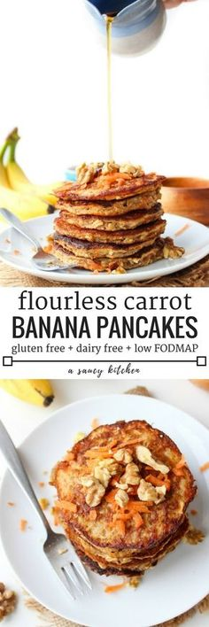 Flourless Carrot Banana Pancakes - only four ingredients needed and takes about 10 minutes to make! Gluten Free + Dairy Free + Low FODMAP