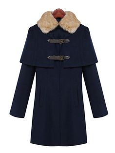 Trendy Casual Autumn and Winter Classic Dark Blue Long Sleeve Fur Collar Buttons Cloak Winter Coat Online - NewChic Fashion for women Women`s outfit Outfit ideas for women Style inspiration Women`s wardrobe Clothes for women Wear for women Classy Awesome Gorgeous Casual Street