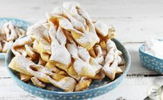 Faworki z piwem Snack Recipes, Snacks, Churros, Fries, Cookies, Baking, Food, Thermomix, Bakken